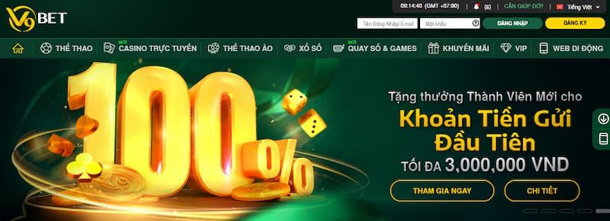 Khuyến mãi V9 thưởng 100% tiền gửi đầu tiên dành cho người chơi mới