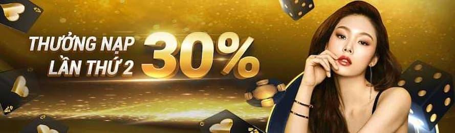 Tặng 30% tiền gửi lần 2 cho người chơi